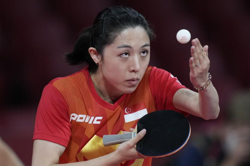 Singapore Yu Mengyu, competes during the table tennis women's team round of 16 against France's Yuan Jia Nan, at the 2020 Tokyo Olympics, Monday (Aug. 2, 2021).. - AP