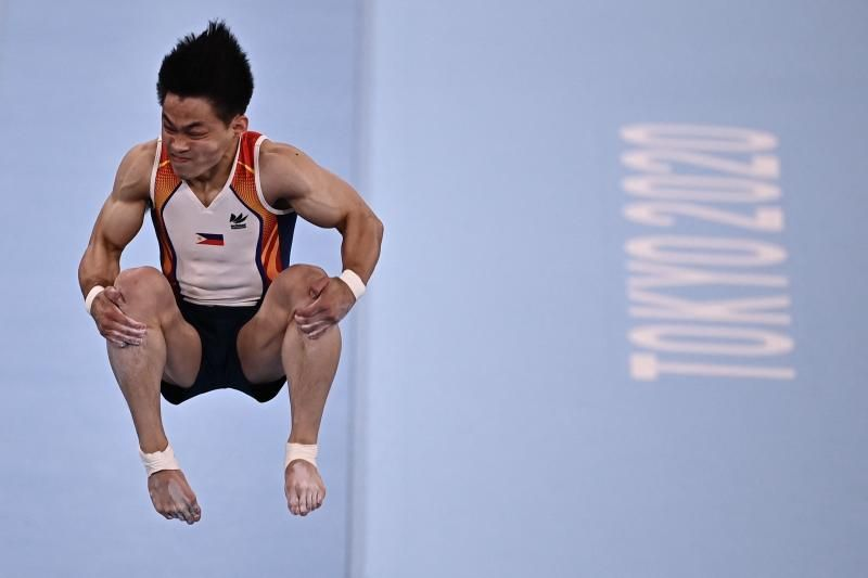 Philippines' Carlos Edriel Yulo competes in the artistic gymnastics men's vault final of the Tokyo 2020 Olympic Games at the Ariake Gymnastics Centre on Monday (Aug 2, 2021). - AFP