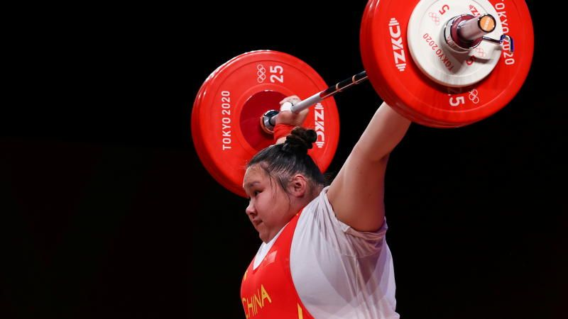 Li Wenwen of China in action during the women's 87kg+ weightlifting event at the Tokyo Olympics 2020 at the Tokyo International Forum on Monday (Aug 2, 2021). - Reuters