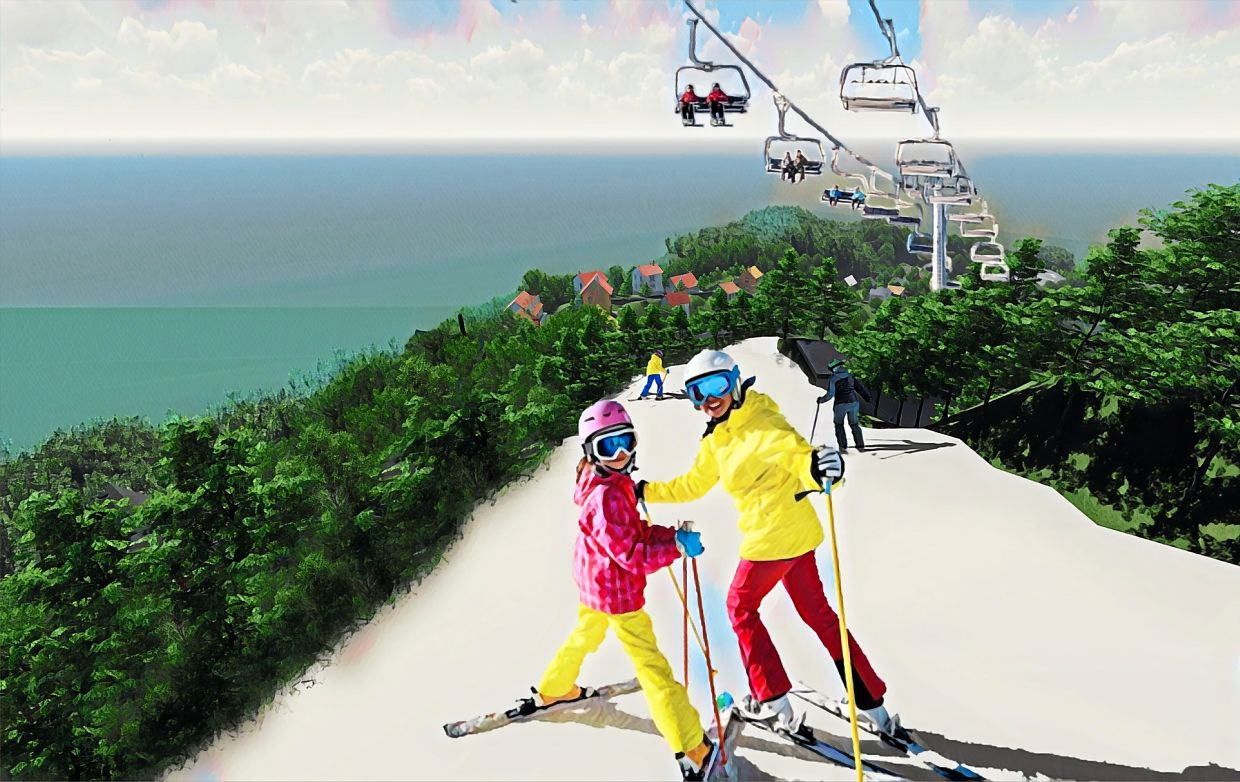 Upon completion, the European-themed park will be the first of its kind in the region to offer an outdoor ski attraction within an equatorial climate. Photos: Sim Leisure Group
