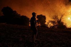 Thousands flee in Greece as wildfires sweep through Mediterranean