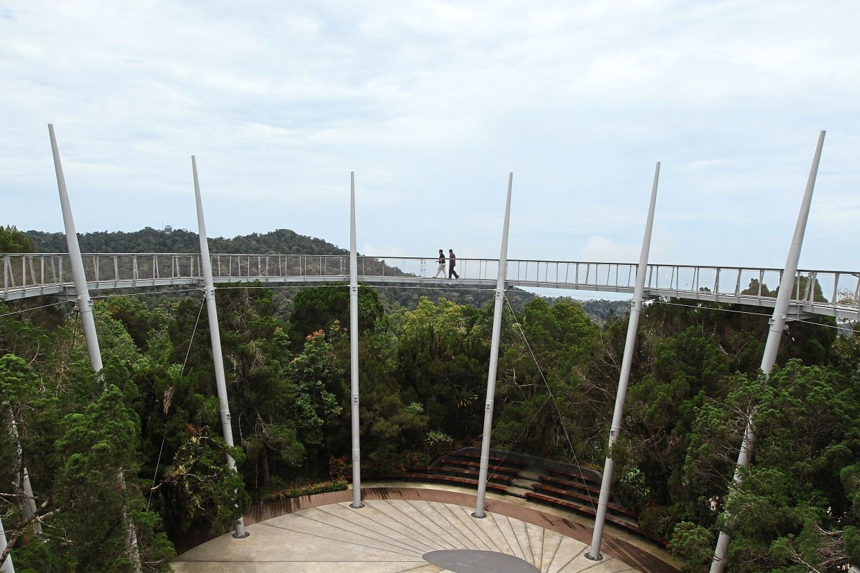 Visitors enjoying the view from Curtis Crest, a signature attraction at The Habitat Penang Hill before the pandemic.