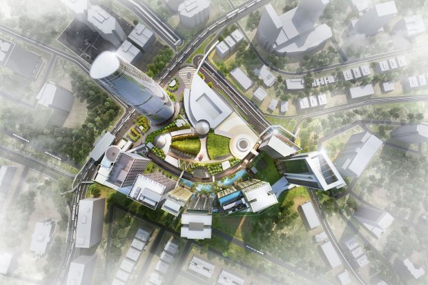 An aerial view of the BBCC master plan.