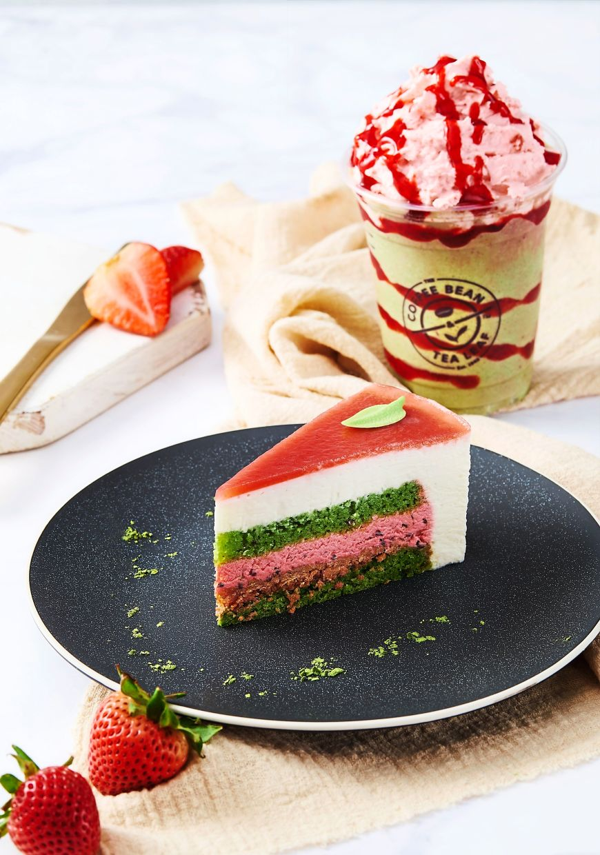 The Pink Duchess has juicy strawberries combined with creamy white chocolate and a subtle hint of black pepper. It is available in slice, petite and whole cake versions.