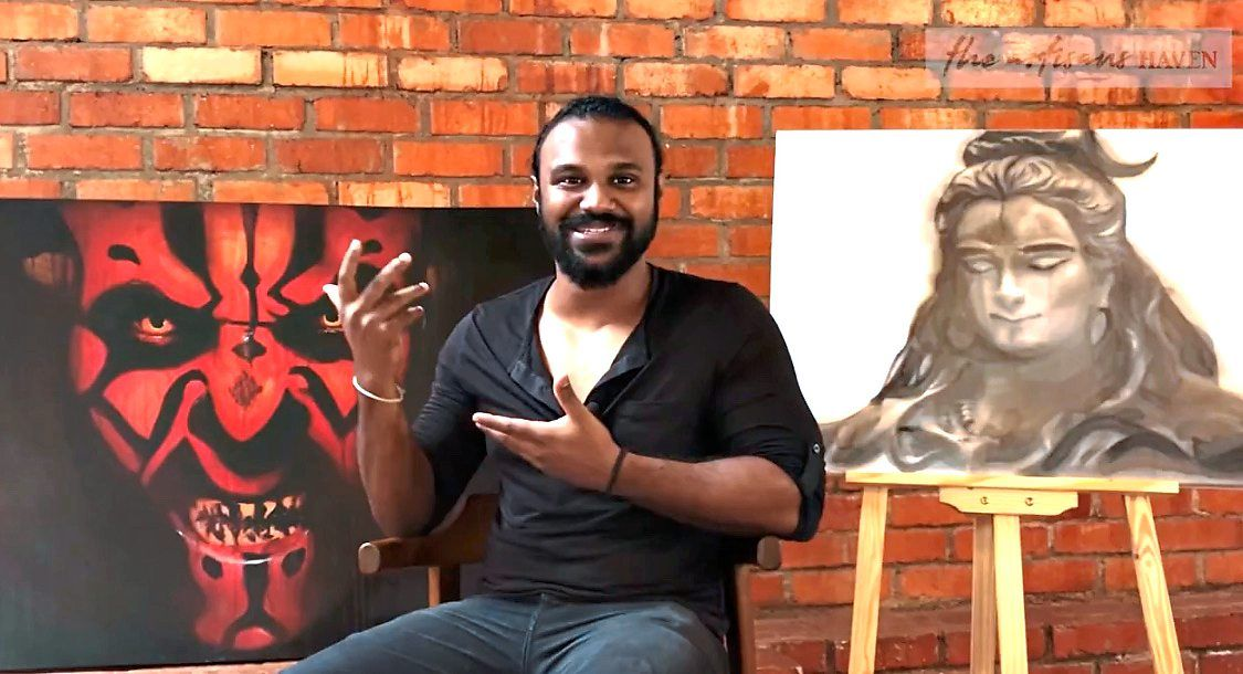 The Artisans Haven has provided a good platform where people can see my work and hire me to do their customised portraits and drawings, says artist Sashtri Vivekananda . Photo: YouTube/The Artisans Haven