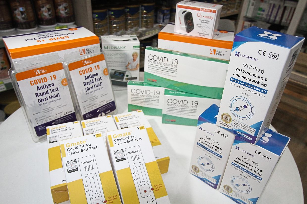 The Covid-19 self-test kits available at the pharmacy.