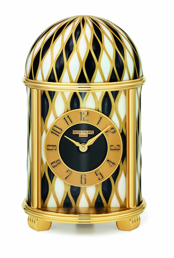 The 10014M 'Undulations in Black and White' small dome table clock.