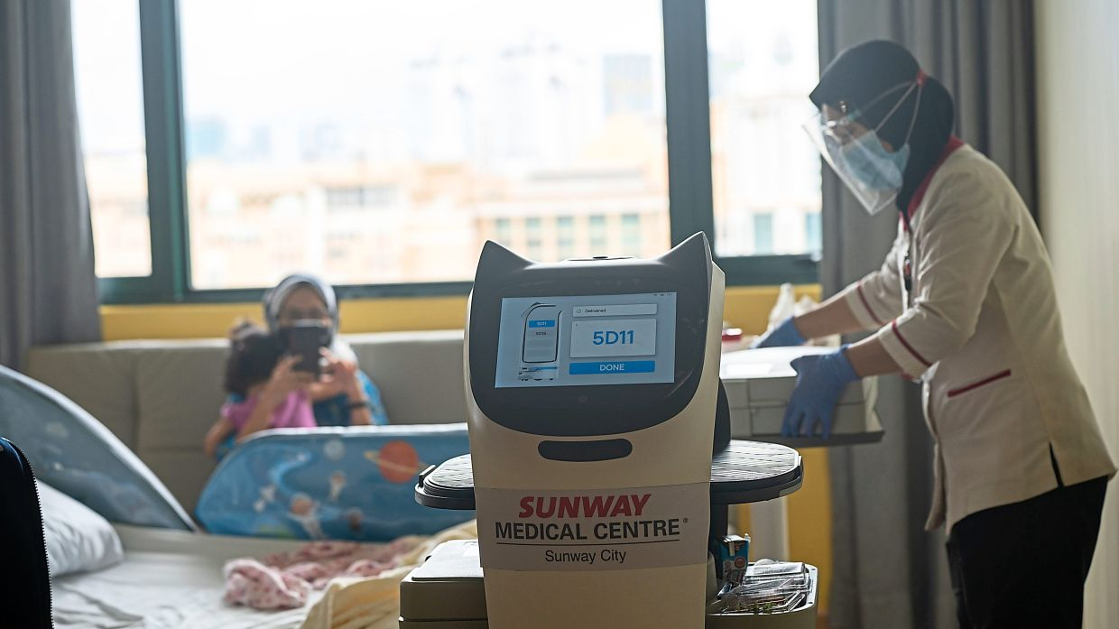 BellaBot delivers food to patients at the paediatric ward. — Sunway Medical Centre