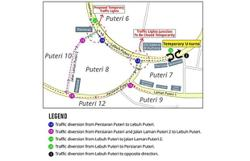 Intersection closed for construction of Bandar Puteri Puchong underpass