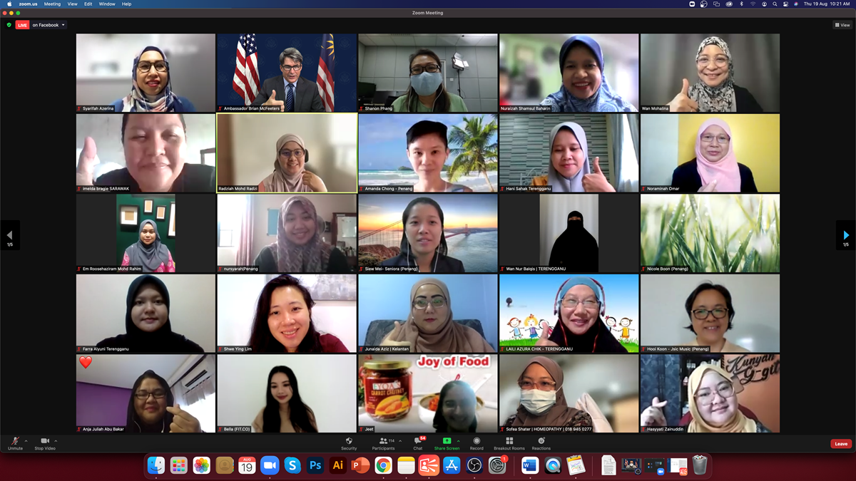 McFeeters and Nuraizah (top row, second and fourth) with the AWE 2.0 participants at the online launch of the programme's new cycle. Photo: US Embassy Kuala Lumpur