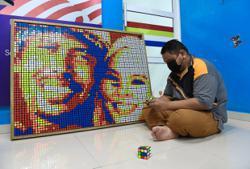 Rubik's cube artist becomes internet darling