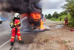 Lorry catches fire on Pasir Gudang Highway
