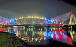 Putrajaya all lit up with Jalur Gemilang colours