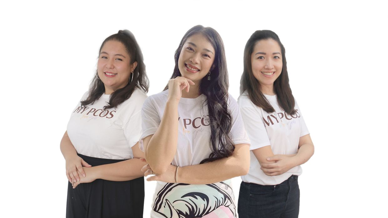 My PCOS I Love You co-founders (from left) Ili Sulaiman, Deena Marzuki and Stephanie Yang. Photo: My PCOS I Love You