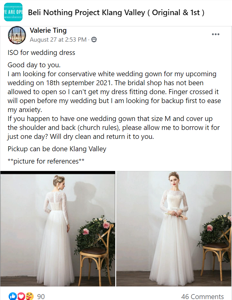 Many netizens showed their concern and support for Dr Ting who is in search of a spare wedding gown. Photo: Beli Nothing Project Klang Valley/Facebook