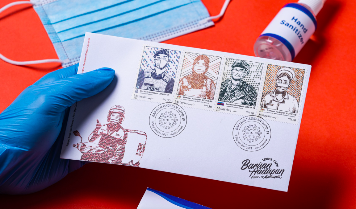 The 'Covid-19 Frontliners' series features a set of four stamps. Photo: Handout