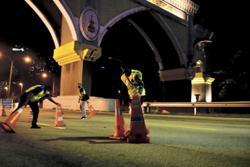 PJ police take down two roadblocks at midnight Thursday (Sept 9)