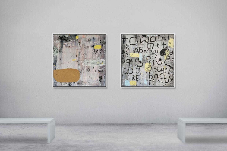 Fauzulyusri's 'Warm' (left) and 'Work' (mixed media on canvas, 2021). Photo: Taksu