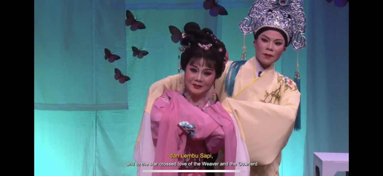 Teochew Puppet and Opera House's 'Butterfly Lovers: Maiden Meeting' stars Liu Xiaoli as Zhu Yingtai (in pink), and Ling Goh as Liang Shanbo. Photo: Teochew Puppet and Opera House