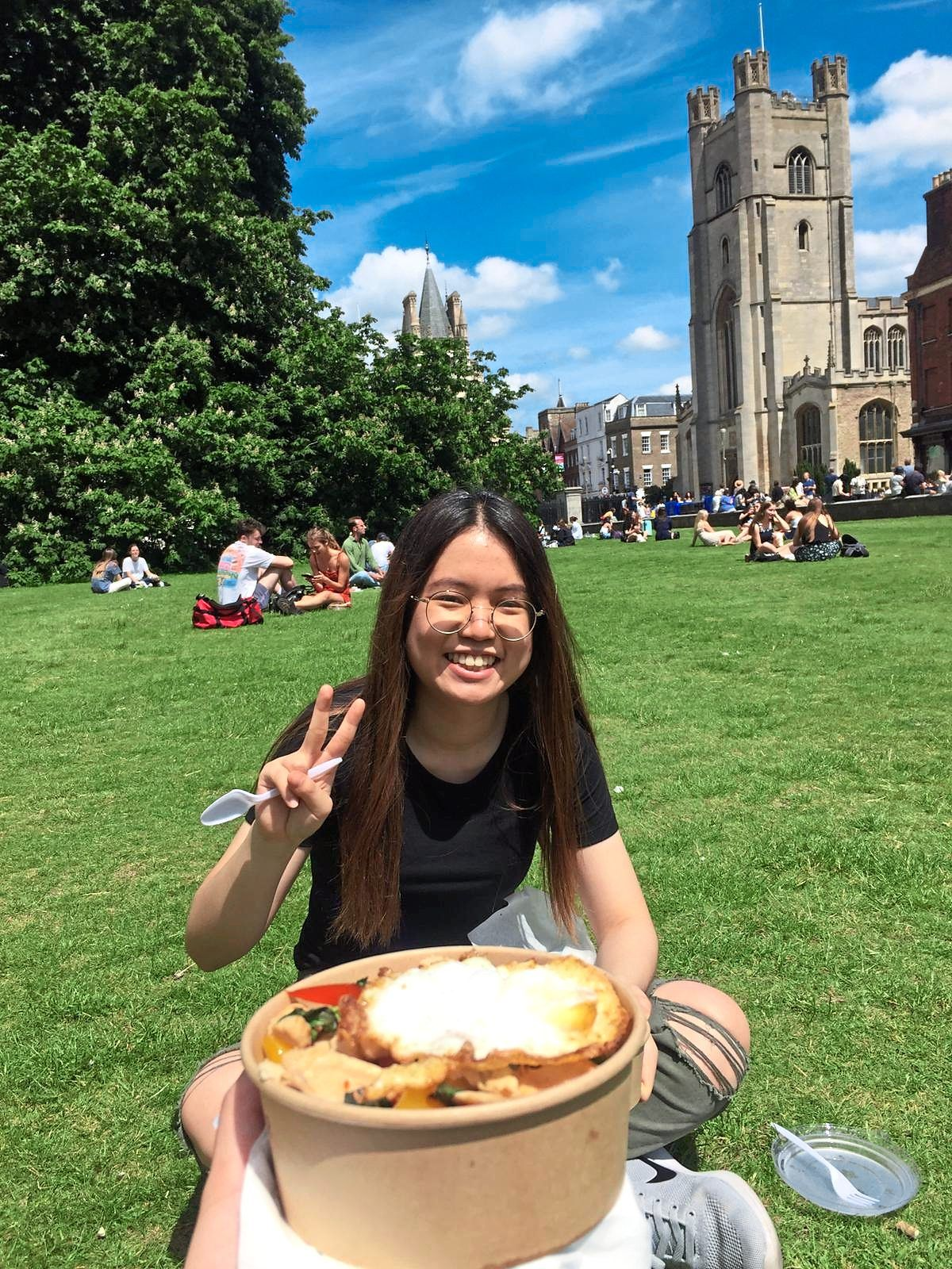 Dream come true: Teoh at Cambridge University, where she has just completed her first year as a law student with first class honours.