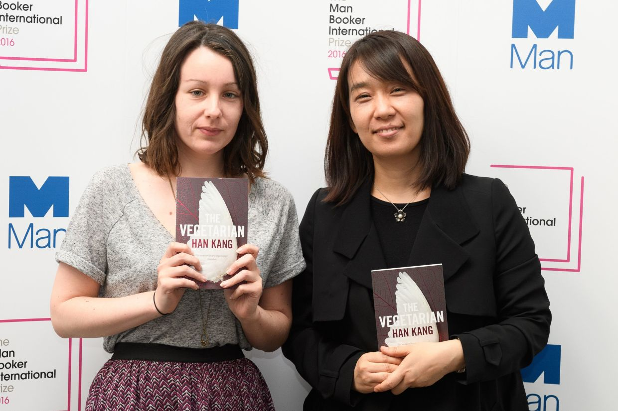 This file photo taken on May 15, 2016 shows Korean author Han Kang (right) and translator Deborah Smith at the 2016 Man Booker International Prize ceremony in London. — AFP