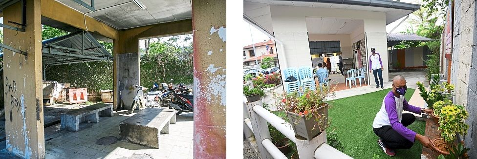 (Left) The area within Pangsapuri Taman Industri Lembah Jaya that was previously used for dry rubbish disposal. (Right) That same spot is now a bright and welcoming space where residents can interact, use as a reading corner or simply relax in. — Photos: AZMAN GHANI and AZHAR MAHFOF/The Star