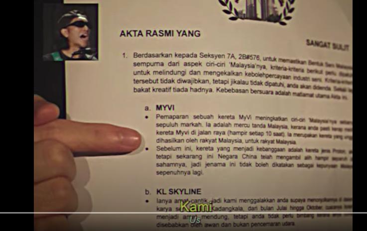 A screen shot of Azmyl Yunor's new video single 'Orang Kita.'