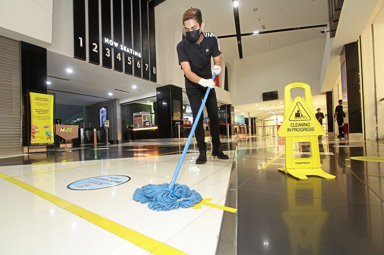 The flooring at GSC Queensbay Mall is mopped regularly.