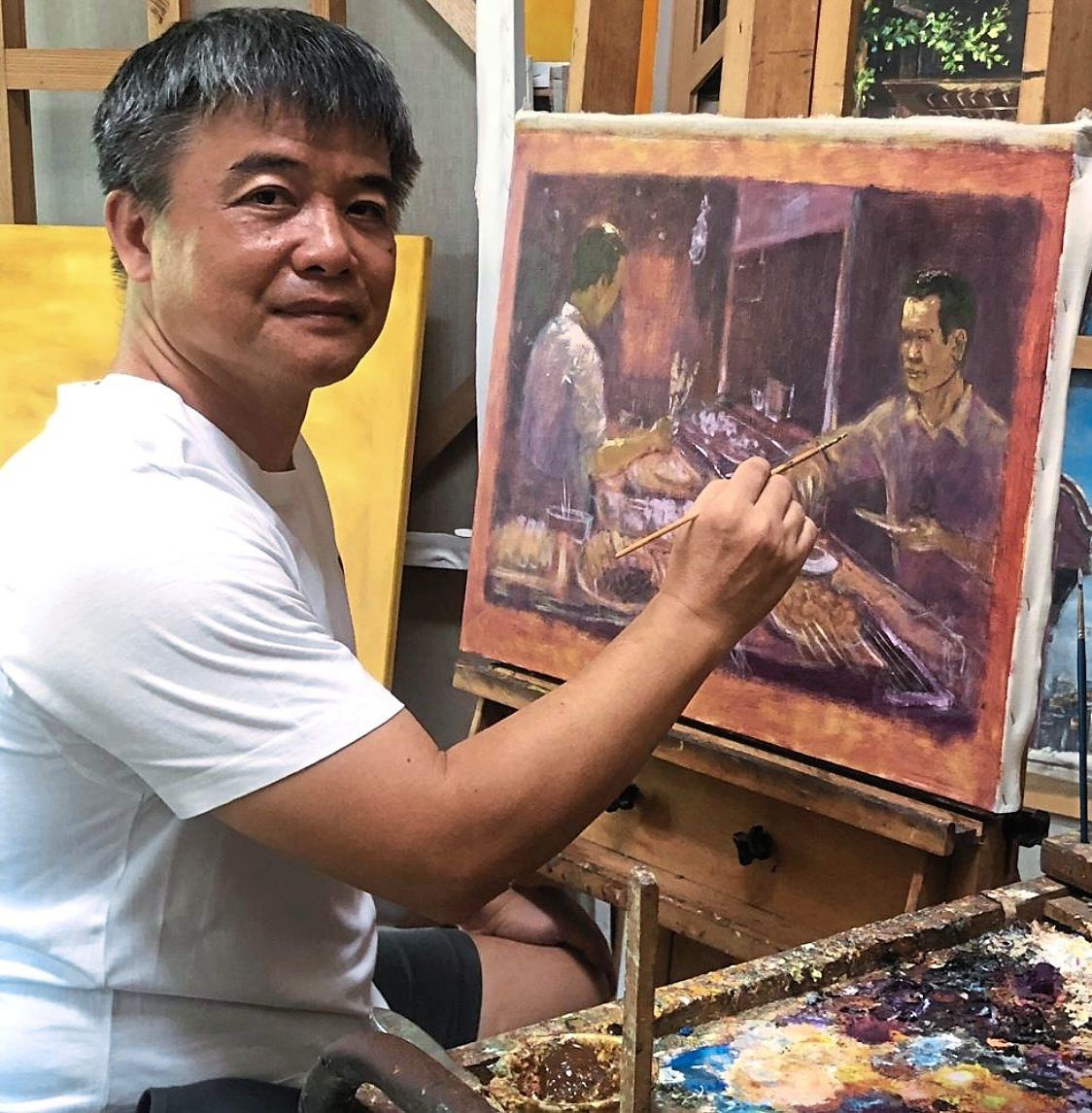 Lui's solo exhibition 'Colour Of Taste' captures the essence of local street food sights and sounds. Photo: Pinkguy Gallery