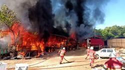 Fire razes houses and community church in a village in Penampang
