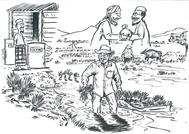 A sketch from Azmi titled 'Balik Pulau Farmer', showcasing a rice farmer working on family land.