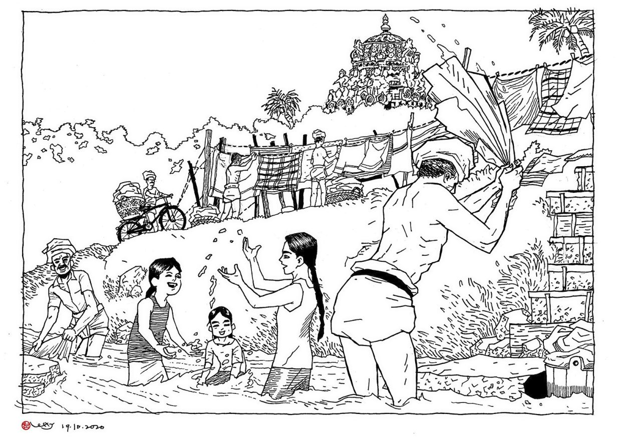Lefty's sketch 'Dhoby Ghaut' captures the story of a traditional Indian dhoby community which settled at York Close and the nearby areas along the river in George Town, Penang.