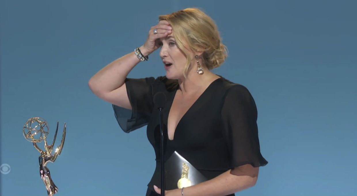 Kate Winslet accepts the award for outstanding lead actress in a limited or anthology series or movie for 'Mare of Easttown'. Photo: AP