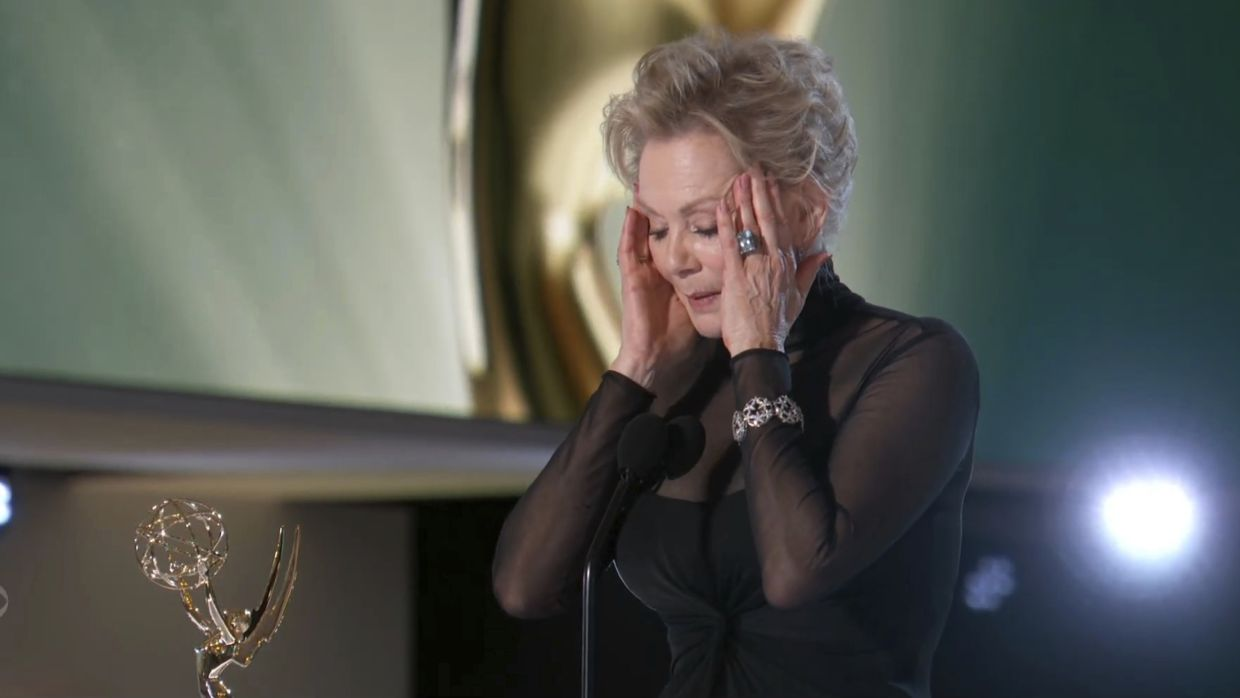 Jean Smart accepting the award for outstanding lead actress in a comedy series for 'Hacks'. Photo: AP