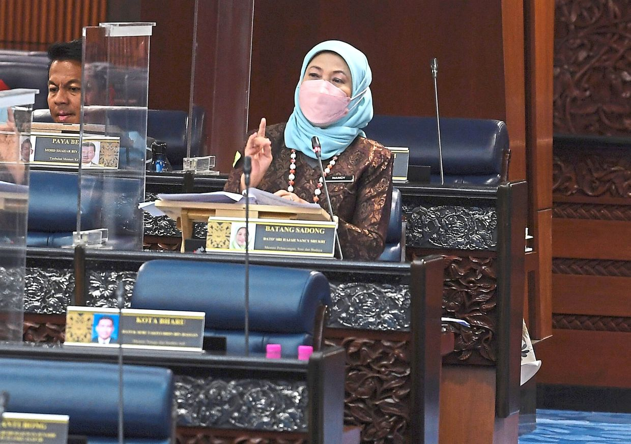 Move to draw tourists: Nancy shedding light on plans to revive tourism, at the Parliament meeting. — Bernama