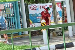 Clowns seen outside schools in Singapore