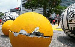 Broken by acts of vandalism
