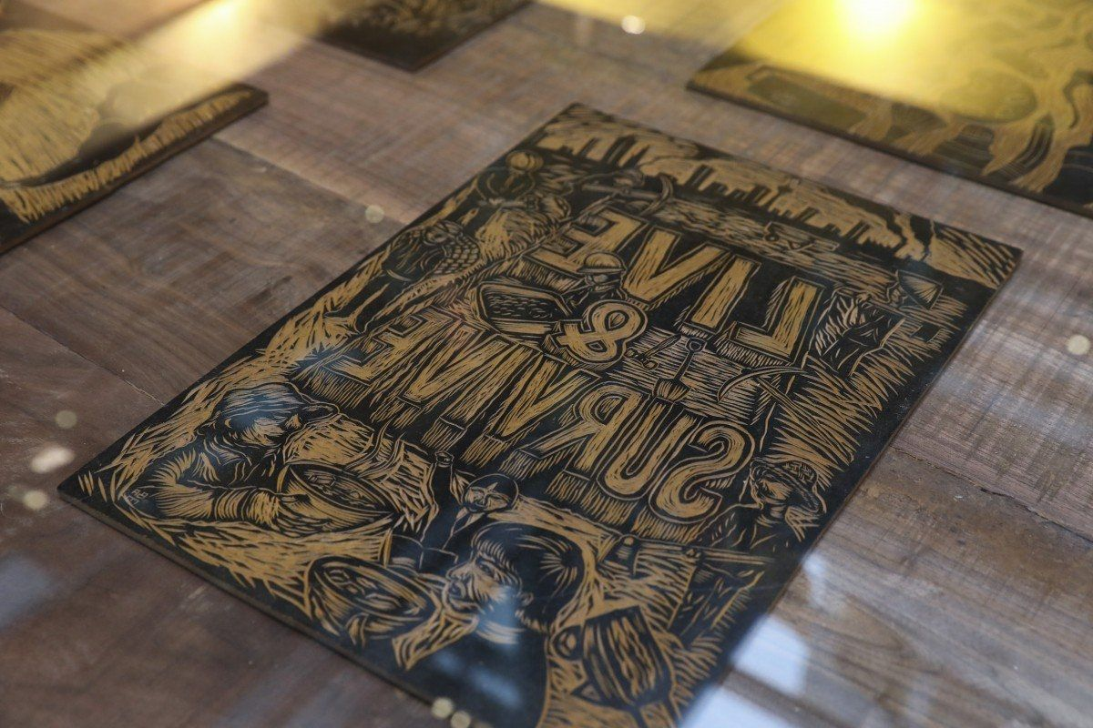 A woodcut work by Malaysian artist collective Pangrok Sulap exhibited at the launch of Centre for Heritage, Arts and Textile at The Mills in Hong Kong in 2019. Photo: South China Morning Post/Asia News Network