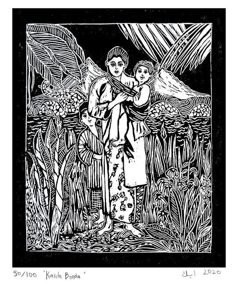 Ika Sharom's lino print 'Kaseh Bonda' (2020). Photo: Ika Sharom