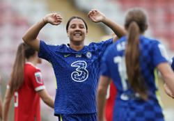Soccer-Kerr at the double as Chelsea rout United, Spurs go top of WSL