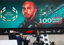 Motor racing-Hamilton goes back on top with his 100th F1 win