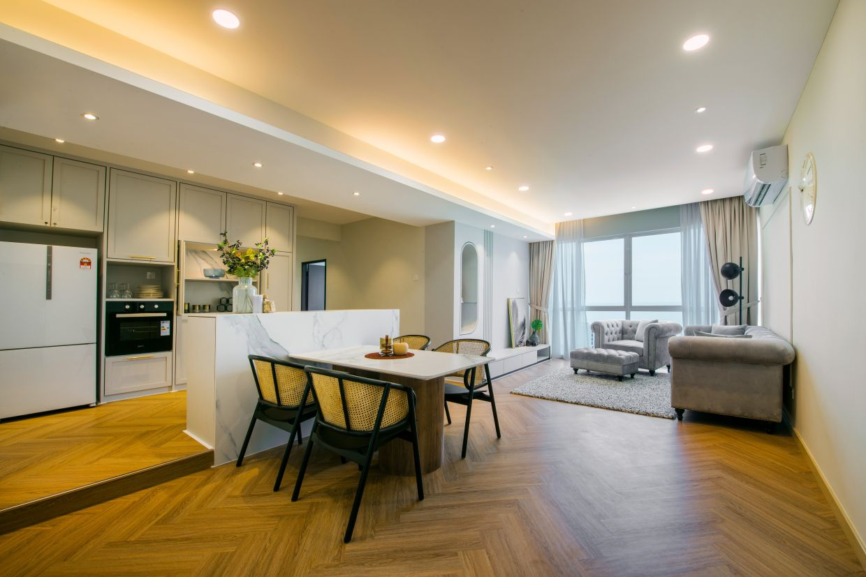 The open concept maximizes space and comfort