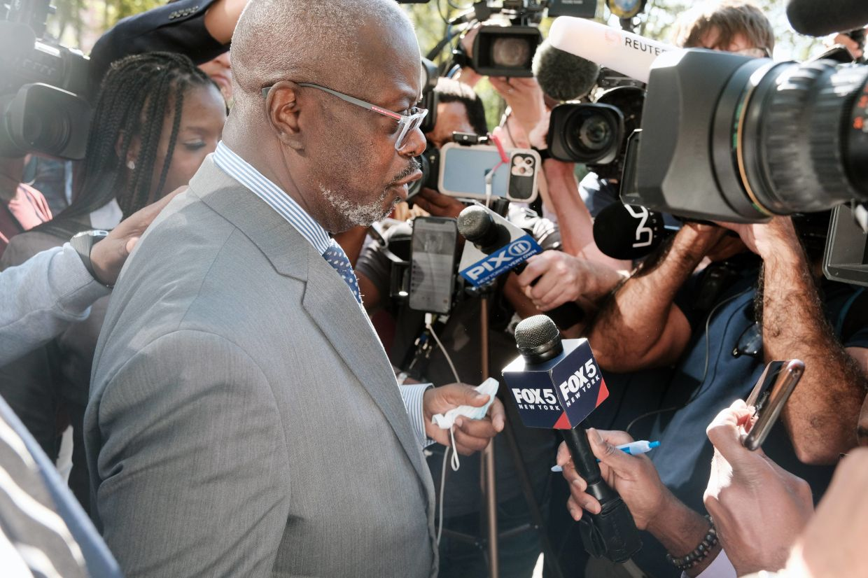 Attorney Deveraux Cannick, representing R&B star R. Kelly, speaks to the media after a federal jury in Brooklyn announced it found Kelly guilty of racketeering and sex trafficking charges after two days of jury deliberations in the federal trial against the performer on Sept 27, 2021 in New York City. Photo: AFP