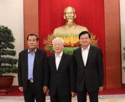 Leaders of Laos, Vietnam, Cambodia meet to strengthen ties