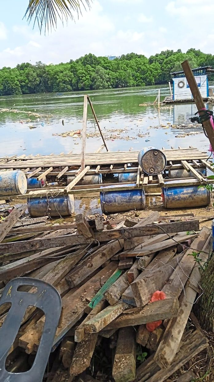 Driftwood in Sungai Tebrau consists of discarded construction materials and cut trees.