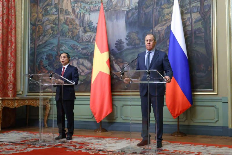 Russia's Foreign Minister Sergei Lavrov and Vietnam's Foreign Minister Bui Thanh Son attend a news conference following their meeting in Moscow, Russia, on Tuesday. - Reuters
