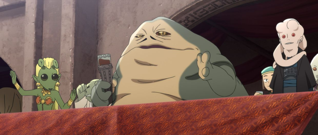 This is the cutest Jabba The Hutt we've seen so far.  Extract from the episode