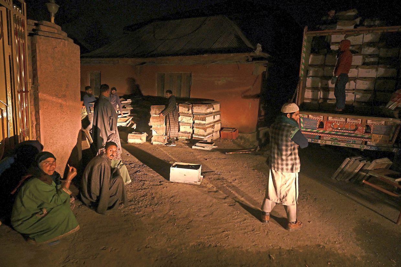Kashmiri beekeepers loading their bee colonies onto a truck in Srinagar.