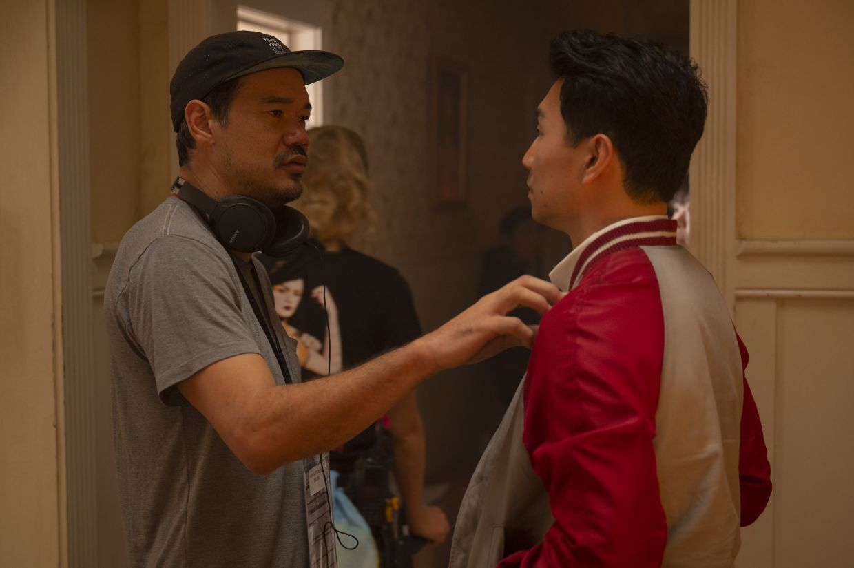 Director Destin Daniel Cretton (left) and star Simu Liu on the set of 'Shang-Chi'.