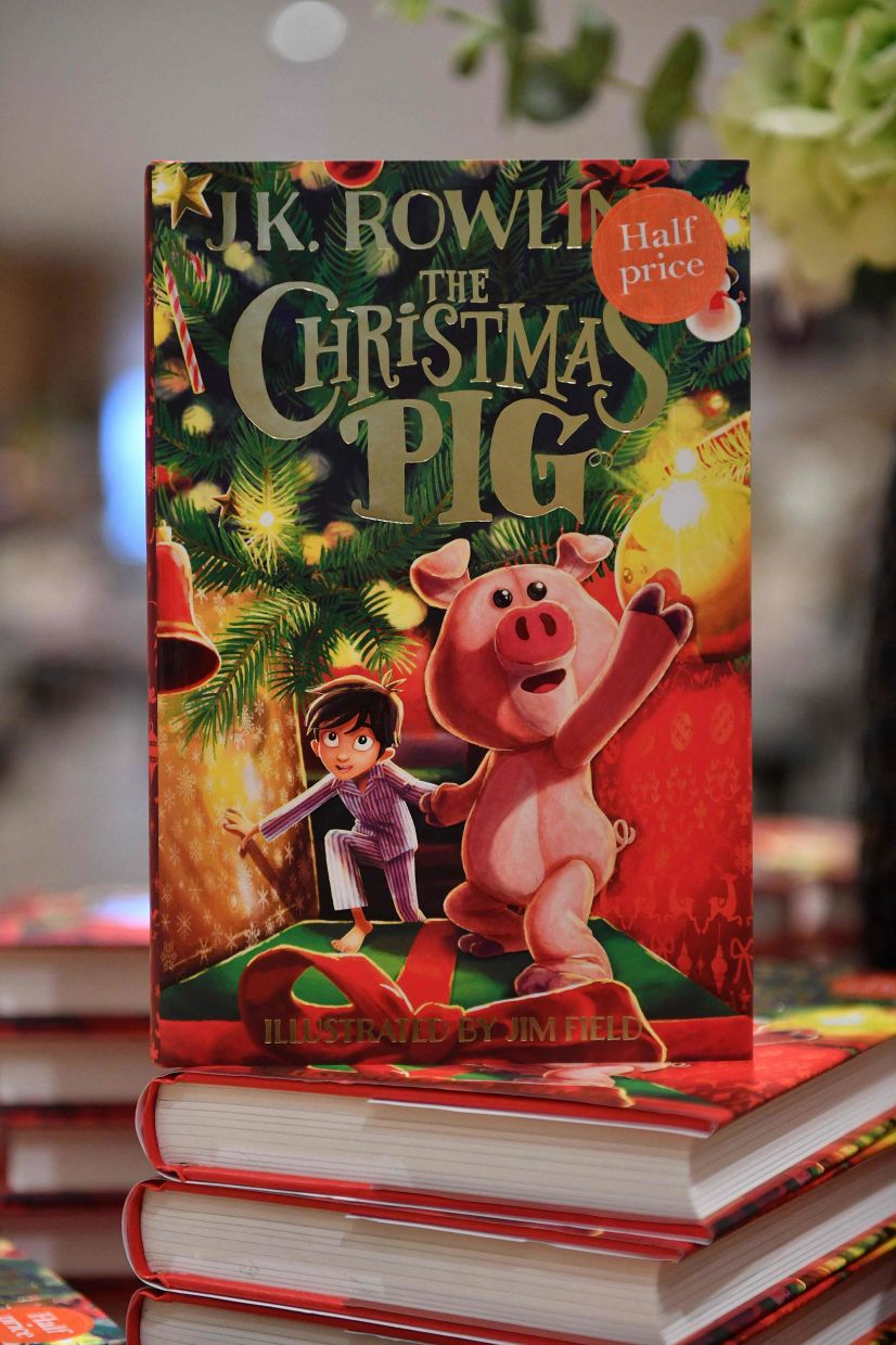 Copies of JK Rowling's new children's novel 'The Christmas Pig' are displayed at the Waterstones Piccadilly bookshop in London. Photo: AFP